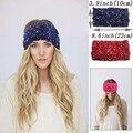 Colorido Bronzing Malha Cabeça Turbante Para As Mulheres Adulto Inverno Quente Grossa de Lã Faixa de Cabelo de Crochê Acessórios Para o Cabelo Headwraps