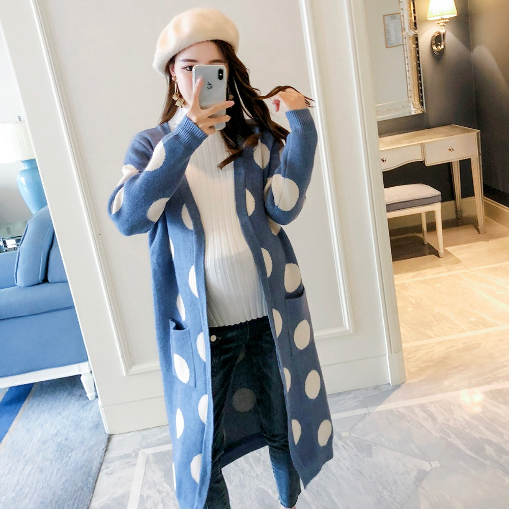 Knitwear long polka dot sweater pregnant women cardigan 2018 autumn fashion new long coat jones new york new black solid open front women s xl cardigan sweater $69 167