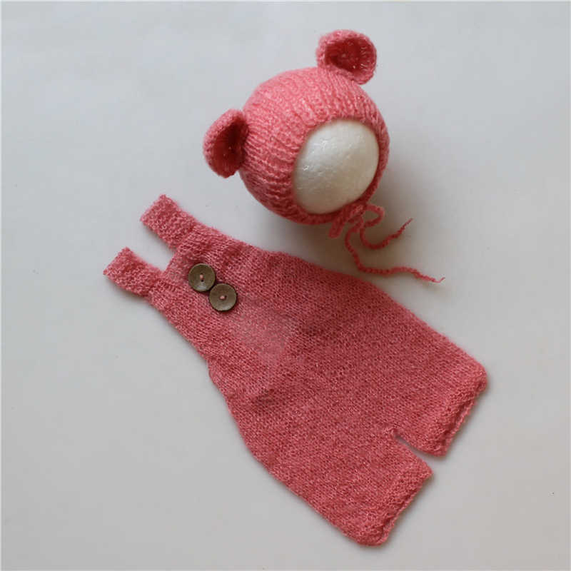 Newborn Baby Infant Photography Props Boy Girl Outfits Cute Bear Hat and Overalls Set Soft Mohair Bebe Photo Clothes Jumsuit
