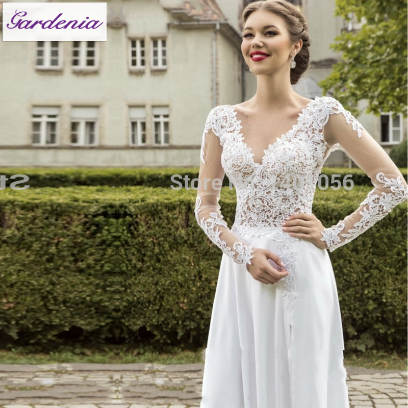 Cheap wholesale a line wedding dresses 2015 lace top chiffon skirt cheap wholesale a line wedding dresses 2015 lace top chiffon skirt bride dress long sleeves boho backless wedding gown vestido in wedding dresses from junglespirit Image collections