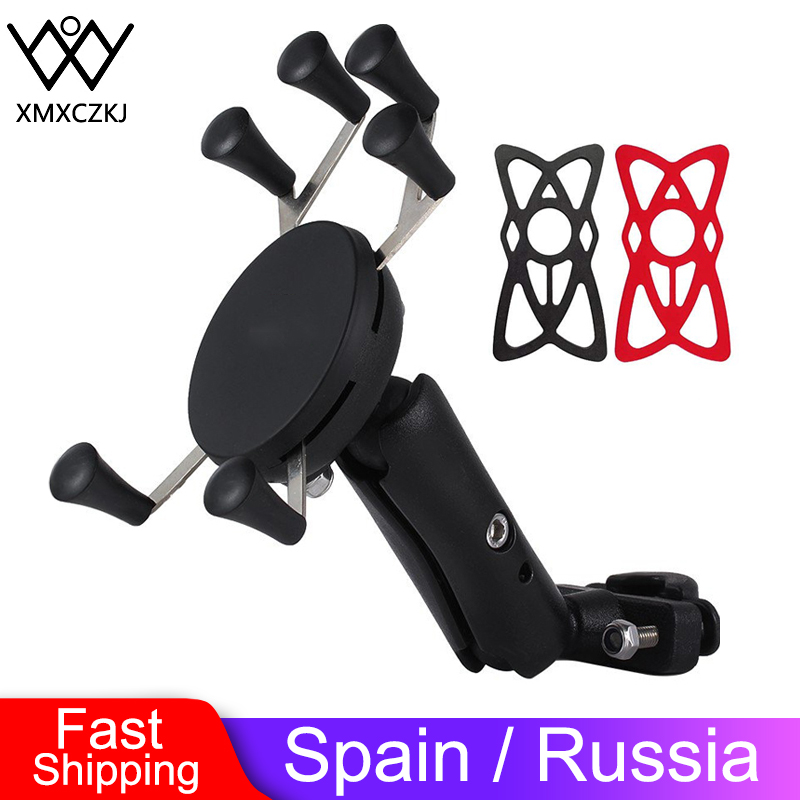 XMXCZKJ Motorcycle Phone Holder Bike Mobile Phone Mount Holder Support Telephone Moto Silicone X-grip Phone Stand For Smartphone