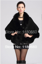 New elegant cashmere shawl imitation fox fur cape coat jacket women women leather jacket, fur & leather, quality designer brands