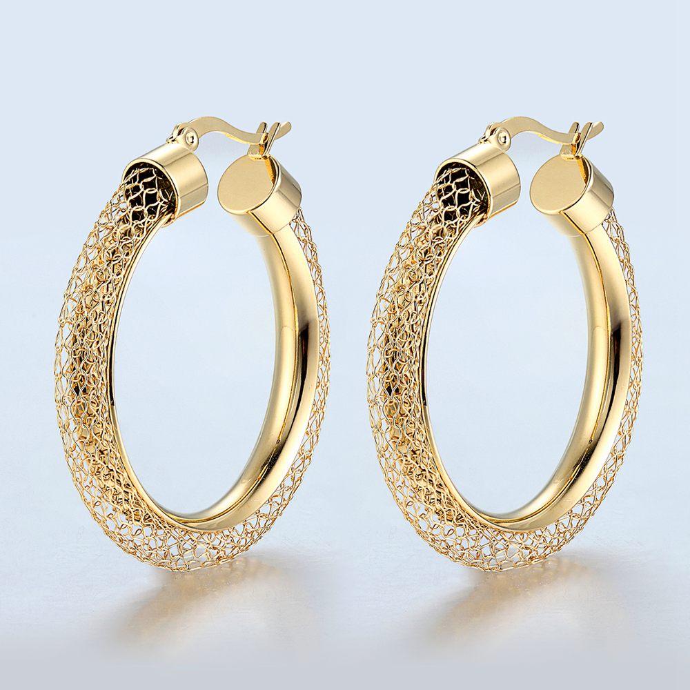 Купить женские ажурные серьги кольца модные брендовые золотого цвета