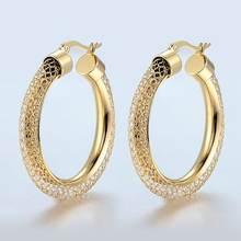 Женские ажурные серьги кольца модные брендовые золотого цвета