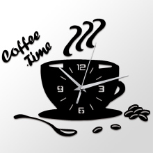 3D Diy Coffee Time Clock Acrylic Wall Clock Modern For Kitchen Home Decor Cup Shape Wall Sticker Hollow Numeral Clock