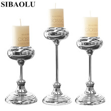 Modern Silver Single Head Candle Holder Metal Home Decoration CandleStick Wedding Candelabra CandleSticks
