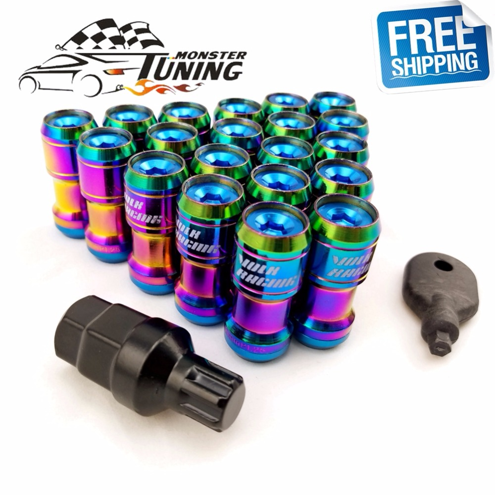 Nuts & Bolts Auto Replacement Parts Free Shipping Neo Chrome M12x1.5/m12x1.25 20pcs Concealed Heptagon Formula Steel Wheels Lock Jdm Style Lug Nuts