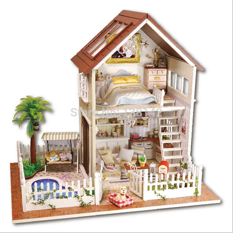 A025 Large Paris apartment house miniatura diy handmade wooden dollhouse accessories miniature villa beach house paris