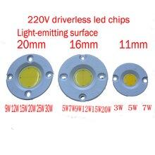 High Brightness driverless PCB 3W / 5W 7W 9W 12W 15W 20W 30W Round COB LED Bulb Chip Light Lamp White&Warm White