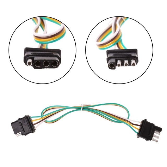 60CM 2ft Trailer Light Wiring Harness Extension 4 Pin Plug 18 AWG ...