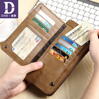 DIDE Vintage Genuine Leather Wallet Men Zipper Phone Pocket Wallet Purses Wallets Cowhide Purse Luxury Brand