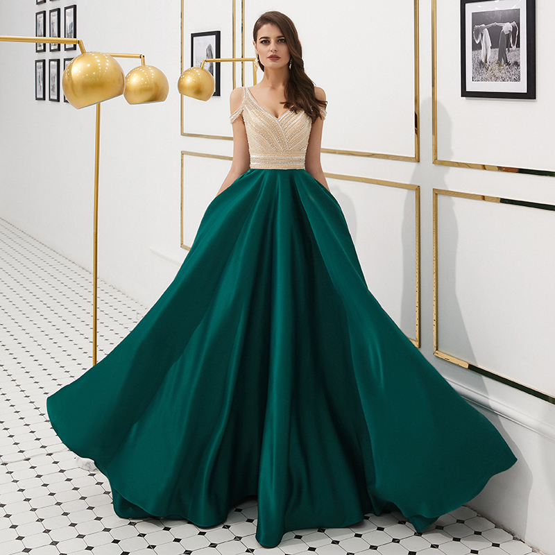 2019 Luxury Backless Crystal Beaded Prom Dress V Neckline Dark Blue A Line Floor Length Long Women Party Dresses