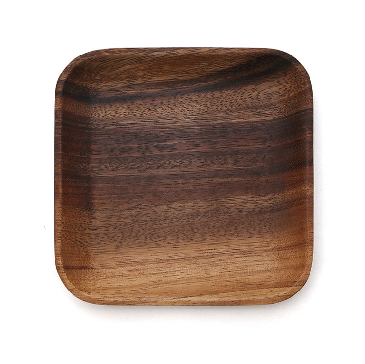 Set of 2 Square Wooden Plates High Quality Acacia Wood Dishes Serving Trays Premium Hardwood Dishes Plates Dinnerware (2)