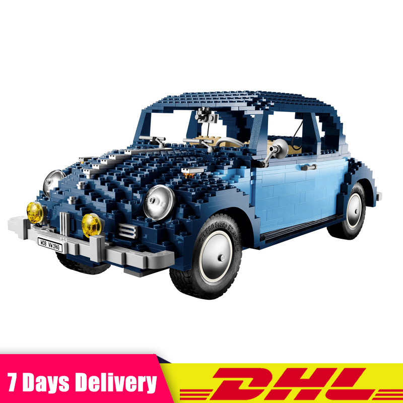 IN Stock LEPIN 21014 1707Pcs Technic UCS VW Beetle Car Set Educational Building Blocks Bricks Toys Compatible LegoINGlys 10187 1707pcs new lepin 21014 classic beetle model car building kits blocks bricks for children christmas gifts legoinglys 10187