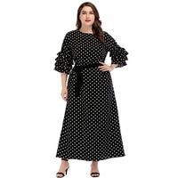 New Women Long Dress Autumn Big Sizes Dot Print Long Boho Dress Frilled Medium sleeve Ankle length Elegant Black Party Dresses