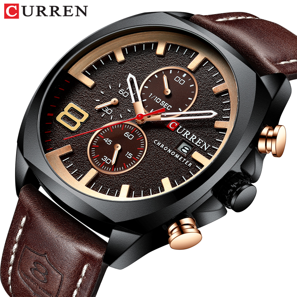 Men Watches Top Brand CURREN Luxury Leather Strap Sport Quartz Chronograph Military Watch Men Clock Waterproof Relogio Masculino