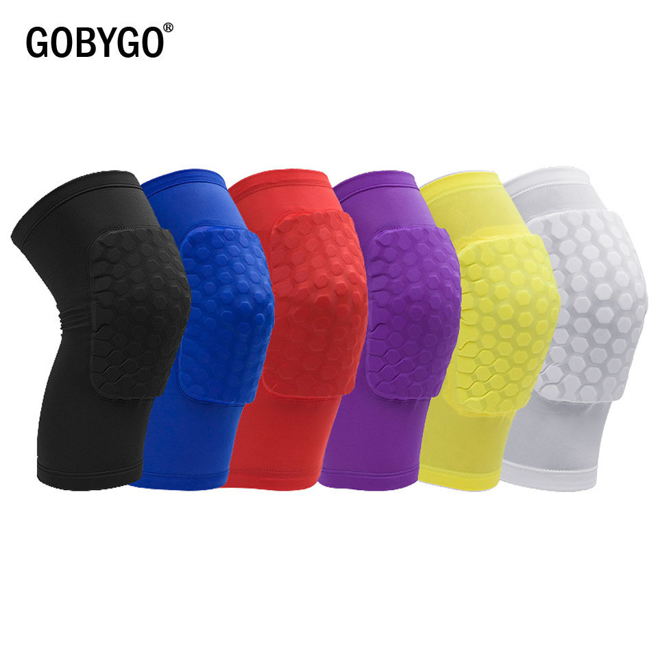 GOBYGO 1PC Honeycomb Knee Pads Basketball Sport Kneepad Volleyball Knee Protector Brace Support Football Compression Leg Sleeves