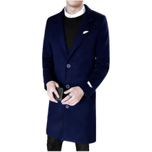 2018 New Autumn Winter Leisure Long Sections Woolen Blends Mens Pure Color Casual Fashion Jackets Casual Male Overcoat M-5XL cheap XMY3DWX Polyester Full Turn-down Collar Solid Single Breasted Thick NONE Slim Broadcloth Conventional REGULAR Trench