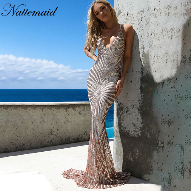 ce7079a05f NATTEMAID Mermaid Party Dress Summer 2019 Bodycon V Neck Backless Strap  Cross Sexy Dress Female Sequin