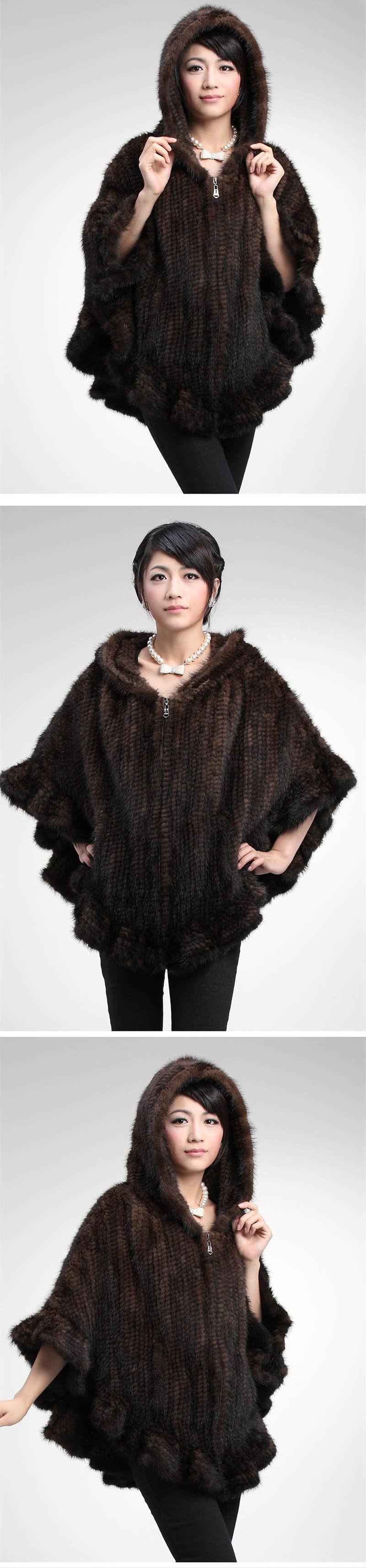 Factory Direct Genuine Mink Fur Shawl Women Natural Mink Fur Poncho With Hood Winter Knitted Mink Fur Jacket DL6191 (1)