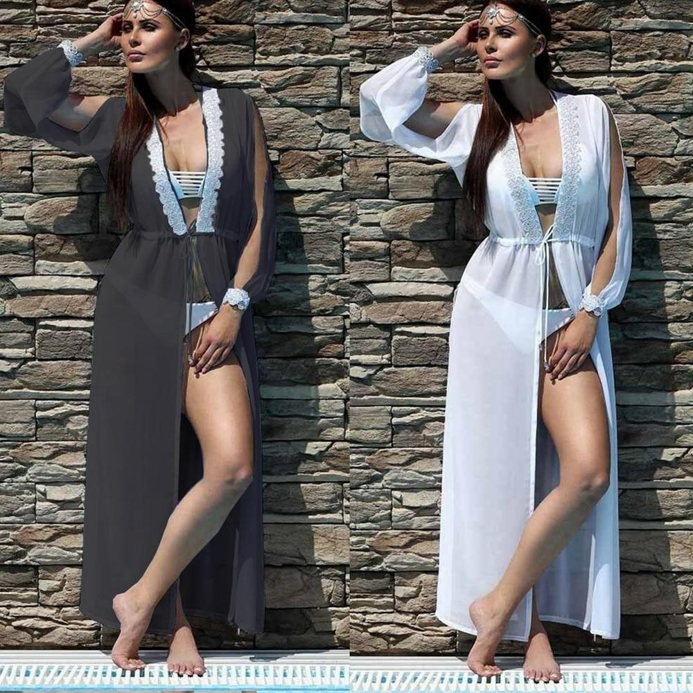 Chiffon Beach Dress Summer Long Sleeve Swimsuit Cover Up Lace Bikini Covers Saida De Praia Beach Capes Sexy Plunge Pareos Women