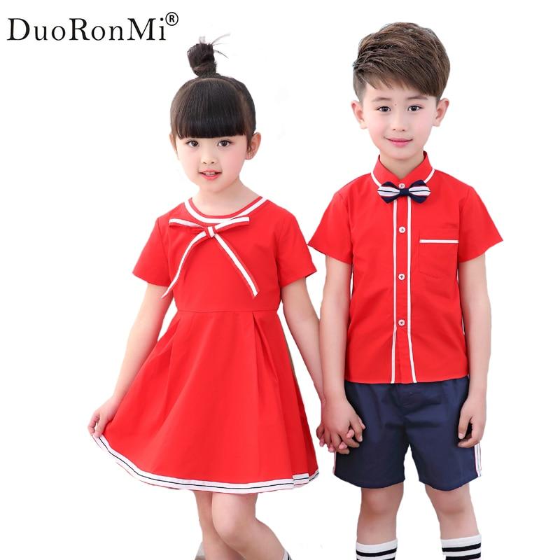 DuoRonMi 2017 Summer England Style Children Sets Baby Boy Girl School Uniform 2 Pieces Boy Blouse Pants Girls Dress Kids Cloth seitokai no ichizon cosplay school boy uniform h008