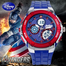 100% Disney brand Mickey Children 50m waterproof Digital Wrist Watches boy calendar Alarm Luminous Timing Captain America clock