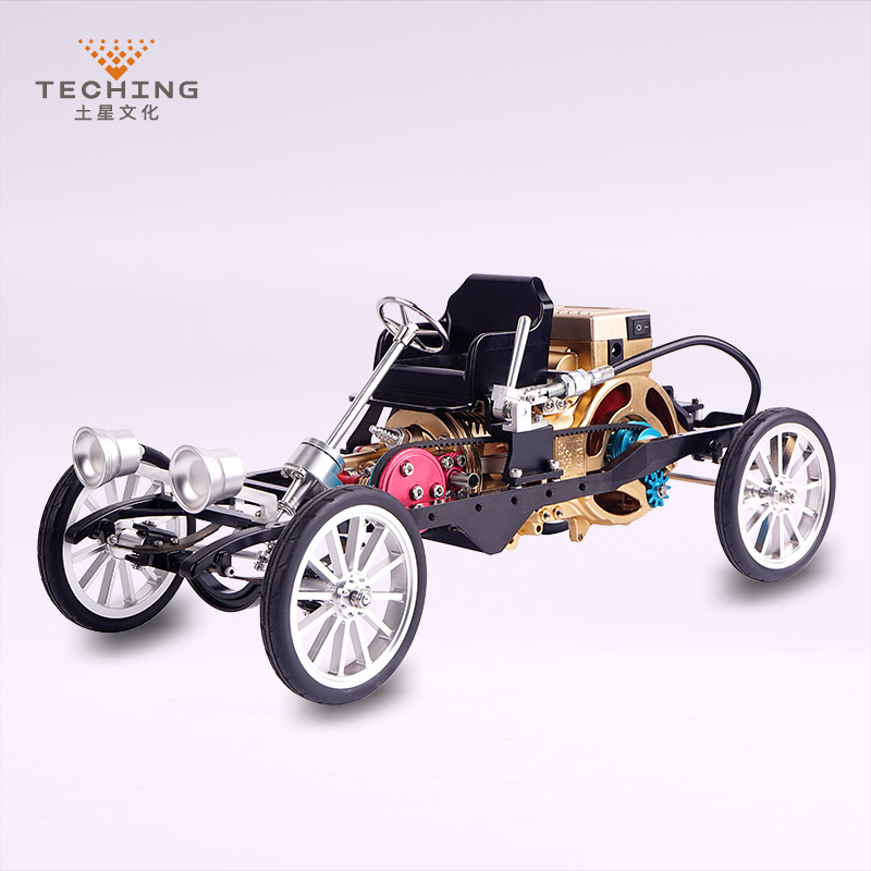 CNC Full Metal Assembly Running Car with Single Cylinder Gasoline engine Model Toy Model Building Kits for Study / Gift