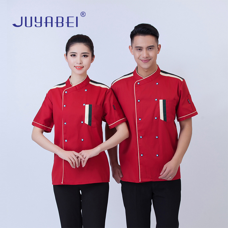 Summer Unisex Short Sleeve Chef Uniform Kitchen Restaurant Hotel Breathable Jacket Waiter Chef Jacket Sushi Cafe Workwear