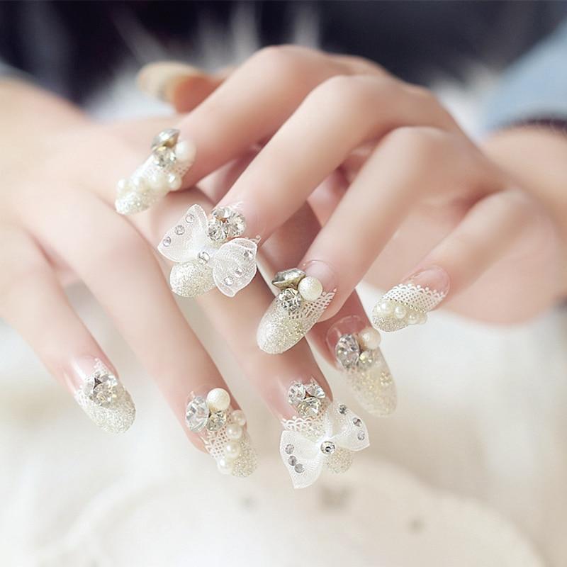 Wedding Bridal 24 Pcs/set Crystal Bowknot False Finger Nails Tips ...