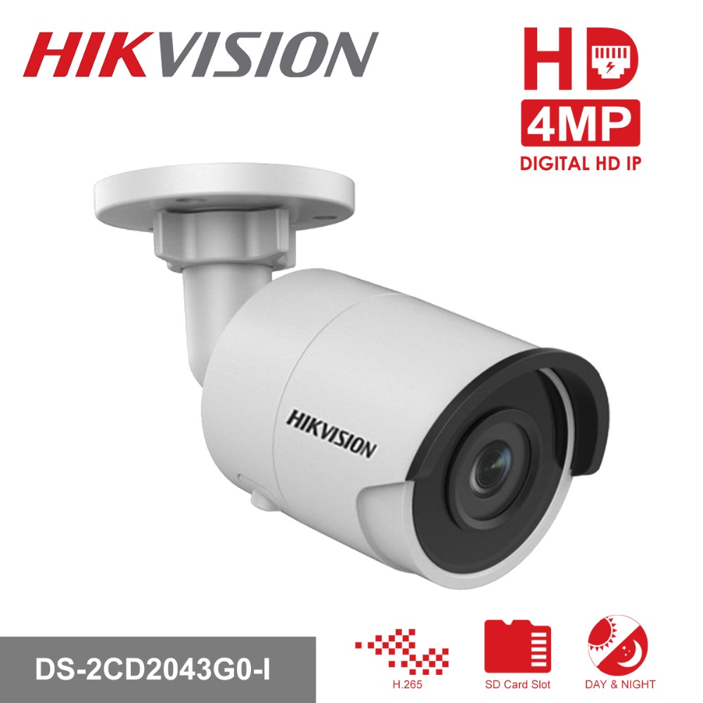 Hikvision H.265 Bullet IP Camera PoE DS-2CD2043G0-I 4MP CMOS IR Network Video Surveillance with SD Card Slot Face Dectection hikvision 4mp ip camera ds 2cd1641fwd i 4mp vari focal network camera hd 1080p real time video ir bullet poe cctv camera