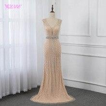 YQLNNE Шампанское Русалка вечернее платье длинное с открытой спиной Кристаллы Бисероплетение Платья пышные платья