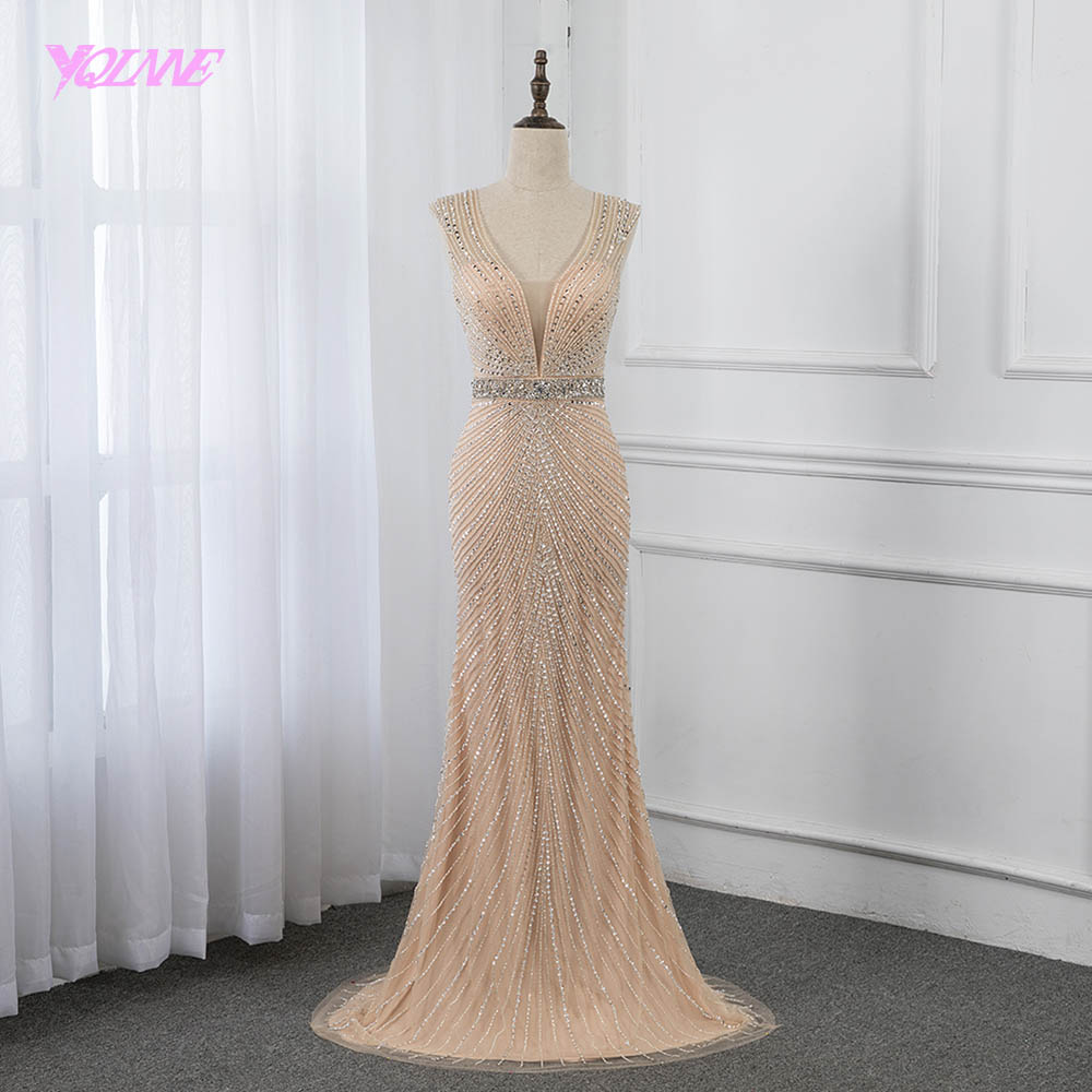 YQLNNE 2019 Champagne sirena vestido de noche largo sin espalda cristales cuentas vestidos de desfile