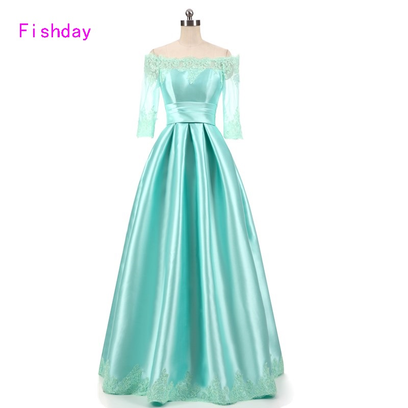 2017 Floor Length Satin Formal Emerald Mint Green Lime Dark Sexy Long Evening Dresses Mother of the Bride Wear Made In China B30