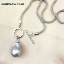 NEW OT circle clasp design gray grey baroque pearl pendant necklace flame ball shape snake Durable chain sterling silver special цена и фото