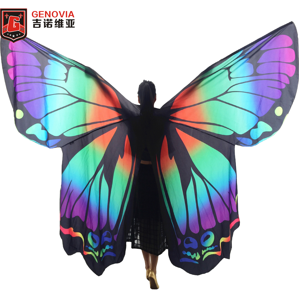 New 2019 Butterfly Belly Dance Costume 360 Isis Wings Egyptian Dance Wear Women Cape Cloak Dance Fairy Wing Wings and sticks