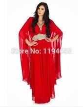 Freies Verschiffen 2016 Langen Ärmeln V-ausschnitt Perlen Taille Roten Chiffon Dubai Abaya Kartan Abendkleider Partei Tragen Kleider DK9001