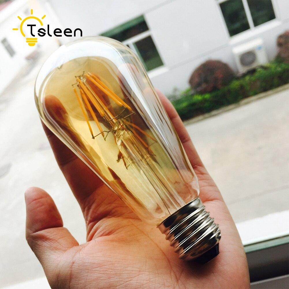 Светодиодная лампа накаливания 4 шт./лот COB E27, 220 В, ST64