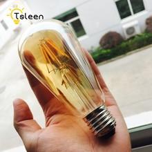 Barato 4 E27 pçs/lote COB LEVOU filamento da lâmpada 220V ST64 bombillas luz Edison Lâmpada Led Iluminação Do Feriado de Vidro Transparente Do Vintage Para Casa