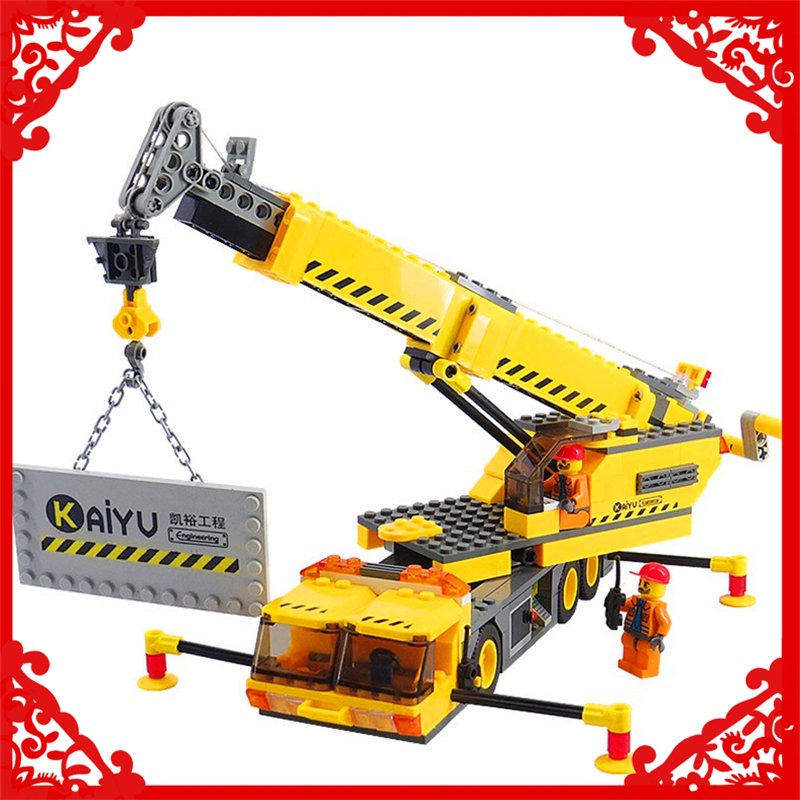 KAZI 8045 City Engineering Crane Lift Building Block 380Pcs DIY Educational  Toys For Children Compatible Legoe loz mini diamond block world famous architecture financial center swfc shangha china city nanoblock model brick educational toys