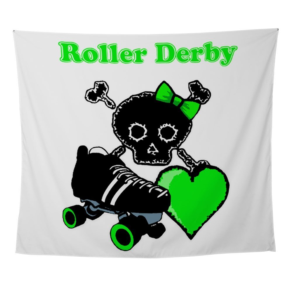 Roller Derby Heart (Green) Wall Tapestry For Wall Decoration Fashion