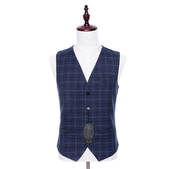 Classic high-quality New Plaid Fabric V-Neck Sleeveless Slim Suit Vest and Business Official Suit Vest Custom Size XS-5XL