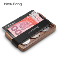 NewBring Handmade Wooden Wallet Men Multi Functional Key Coin Purse And Card Holder
