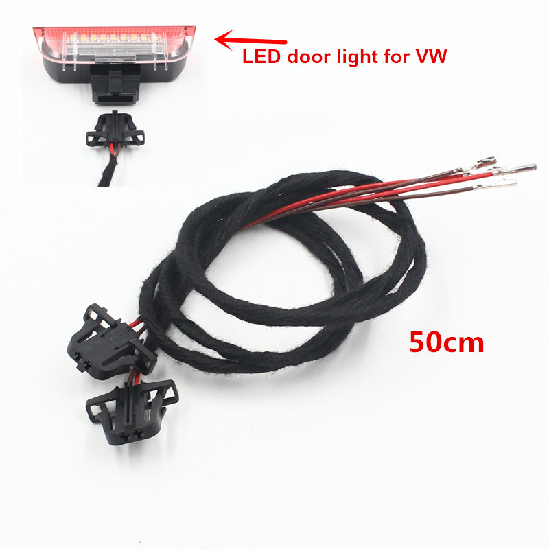 FSYLX For VW LED door warning courtesy welcome light extension harness cables for VW GOLF JETTA CC TIGUAN PASSAT MK5 door light