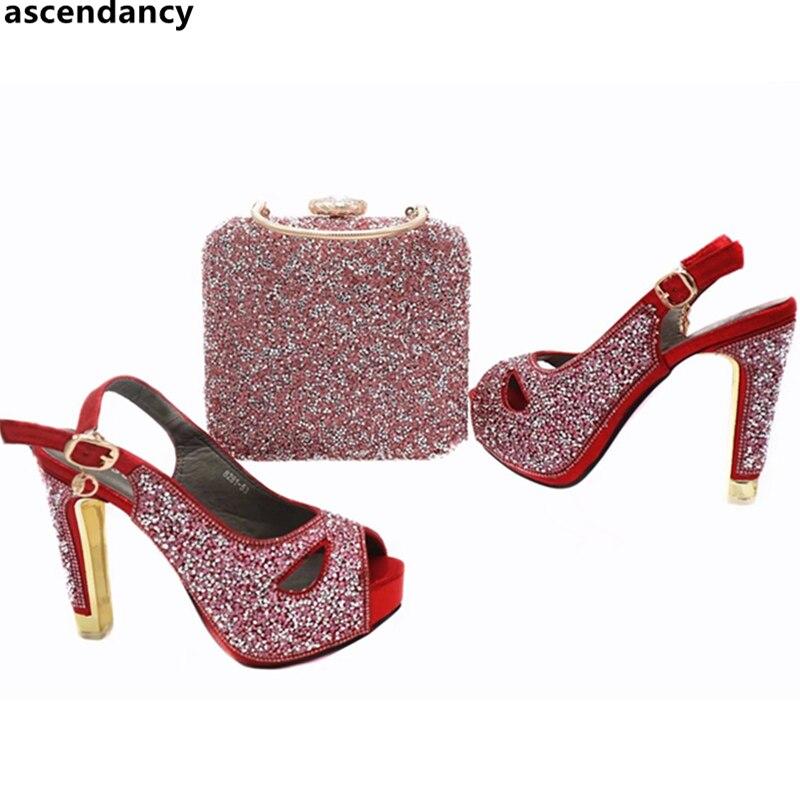 757cade1 Altos Adornado Señoras Con oro Y De Mujeres Sexy rojo Sistema Rhinestone  Zapatos Juego Cielo Italianos ...