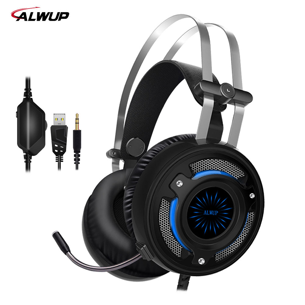ALWUP-A-6 headphone for computer PC games with splitter 7 colors light gaming headset ps4 with microphone each g8200 gaming headphone 7 1 surround usb vibration game headset headband earphone with mic led light for fone pc gamer ps4