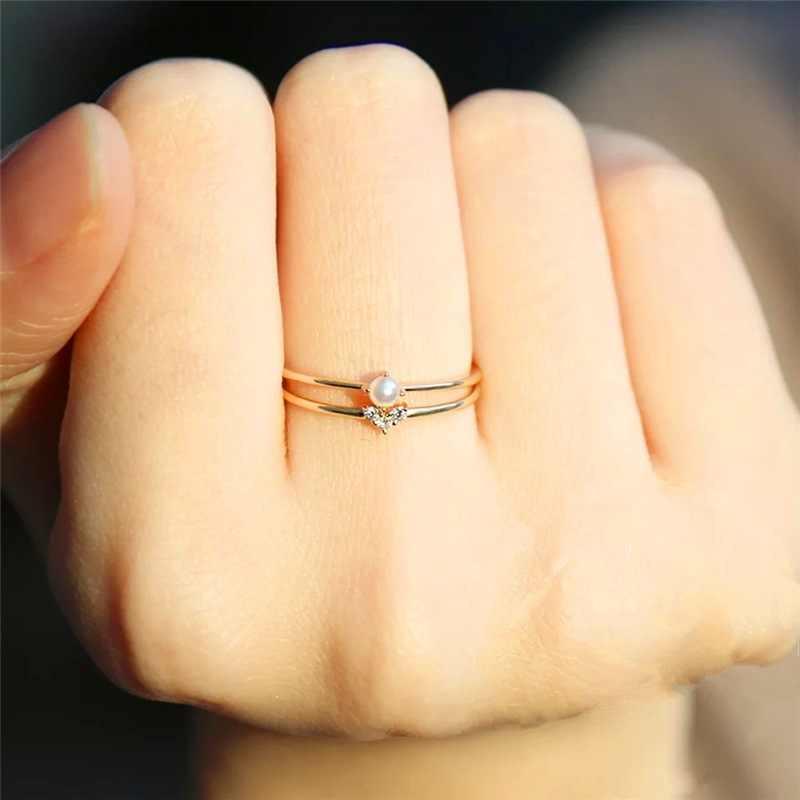 Entrada lux pouco coração anéis finos para mulher luz amarelo cor de ouro aaa + cz gif para festa diário moda jóias kar173