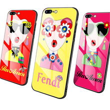 Interesting cute girl cell phone case for the iPhone 78 and toughened glass back cover of 6S Plus x