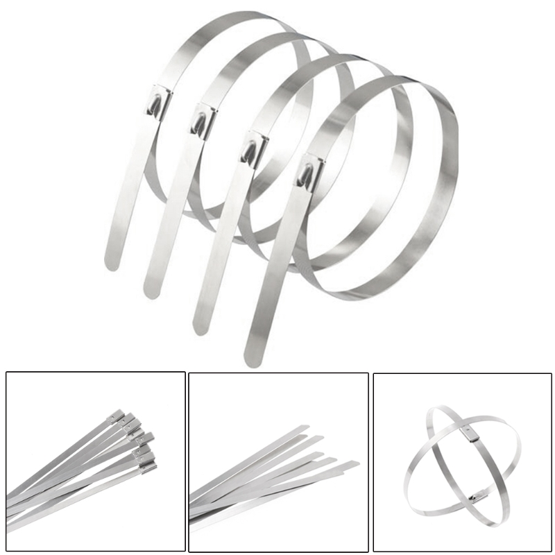 """50 Stainless Steel 14/"""" Cable Zip Ties Metal Self Locking Straps Exhaust Bands"""