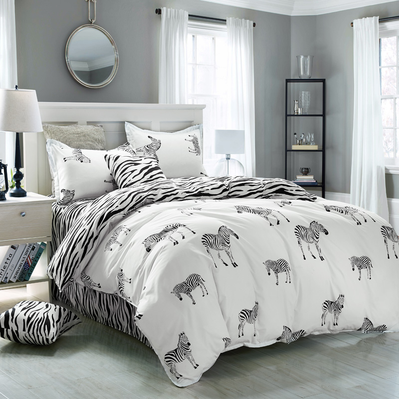 ộ_ộ ༽Rey doble tamaño de impresión de cebra Ropa de cama, 4 Unid